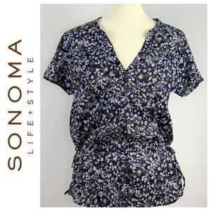 Sonoma Life + Style Ruched Waist Floral Top Large